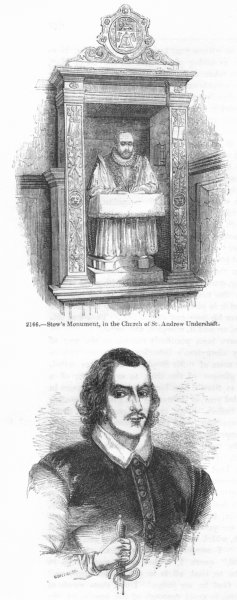 Associate Product MONUMENTS. Stow, St Andrew Undershaft; Donne 1845 old antique print picture