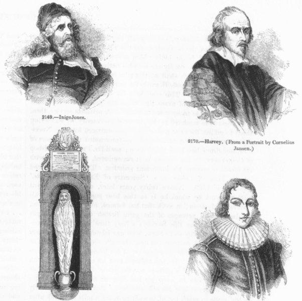 Associate Product PORTRAITS. Inigo Jones; Harvey; Donne; Milton aged 19 1845 old antique print