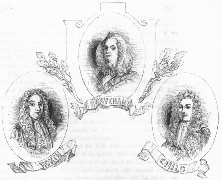 Associate Product PORTRAITS. Dudley North; Dr Davenant; Josiah Child 1845 old antique print