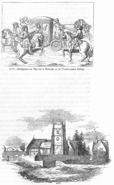 Associate Product WESTMINSTER ABBEY. Thynne's tomb; Alderley Church 1845 old antique print