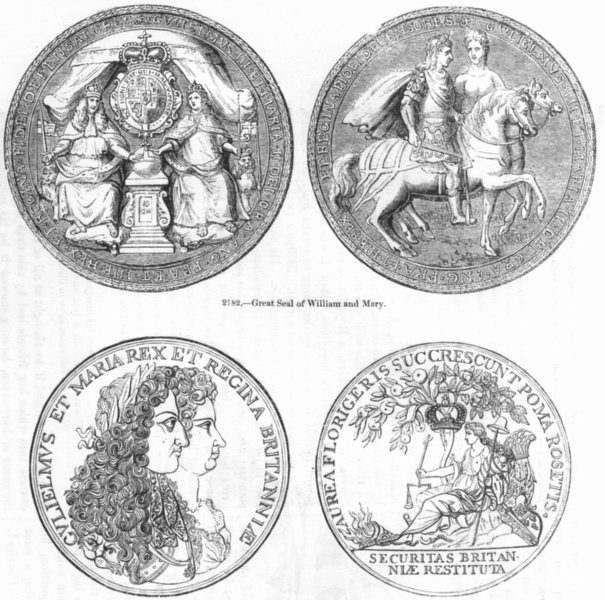 Associate Product DECORATIVE. Seal of William & Mary; Medals  1845 old antique print picture
