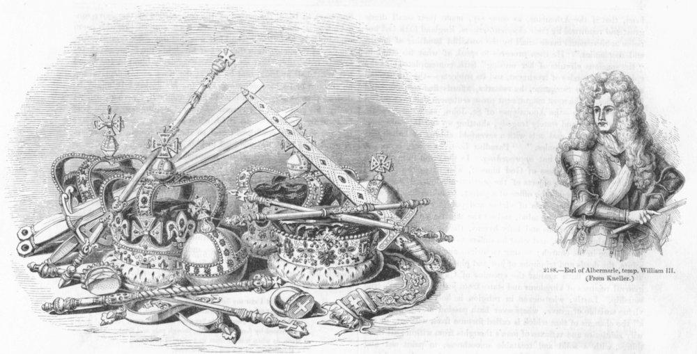 Associate Product REGALIA. & Earl Albermarle, temp William III 1845 old antique print picture