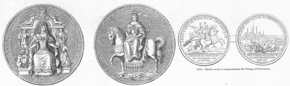 MEDALS. Seal of Anne; Victory Oudenarde 1845 old antique vintage print picture