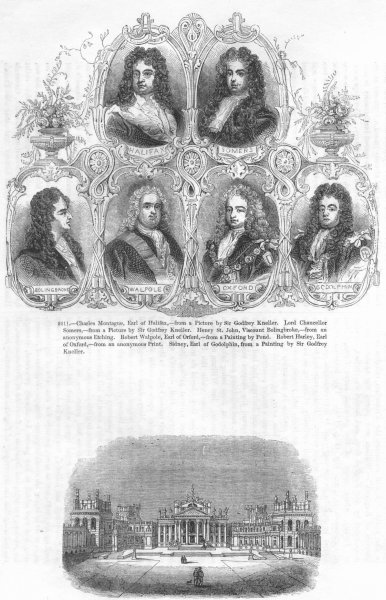 Associate Product BLENHEIM. Halifax, Somers, Bolingbroke, Walpole, Harley 1845 old antique print