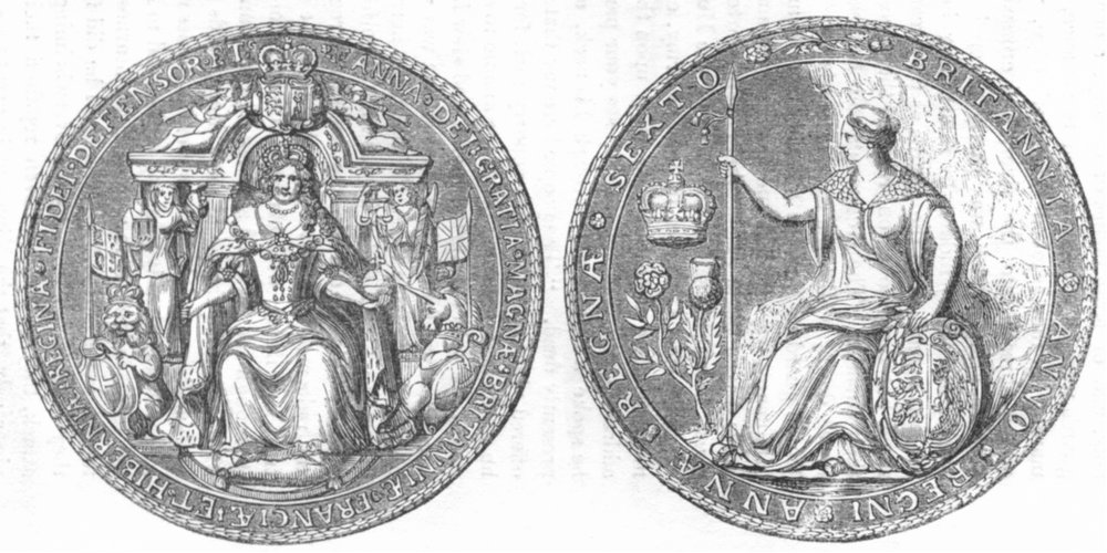 Associate Product ENGLAND. Queen Anne seal after Union with Scotland 1845 old antique print