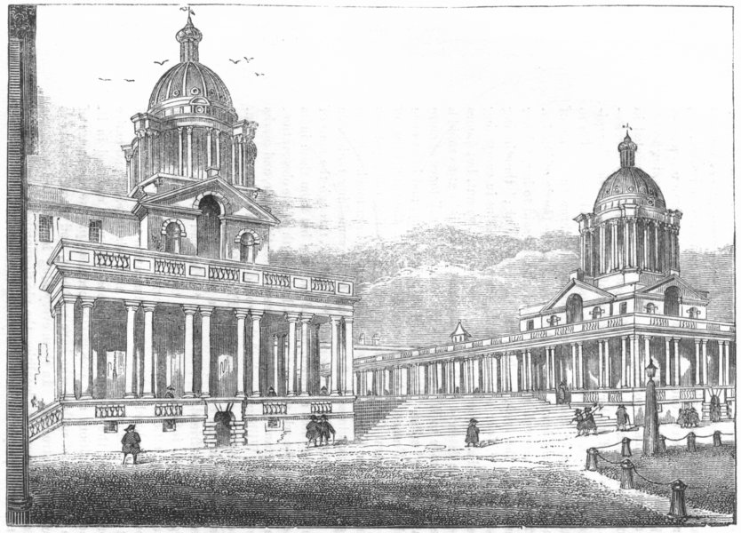 Associate Product LONDON. Royal Hospital, Greenwich 1845 old antique vintage print picture