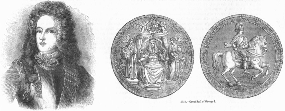 Associate Product KINGS. James Francis(Belle); Seal of George I 1845 old antique print picture