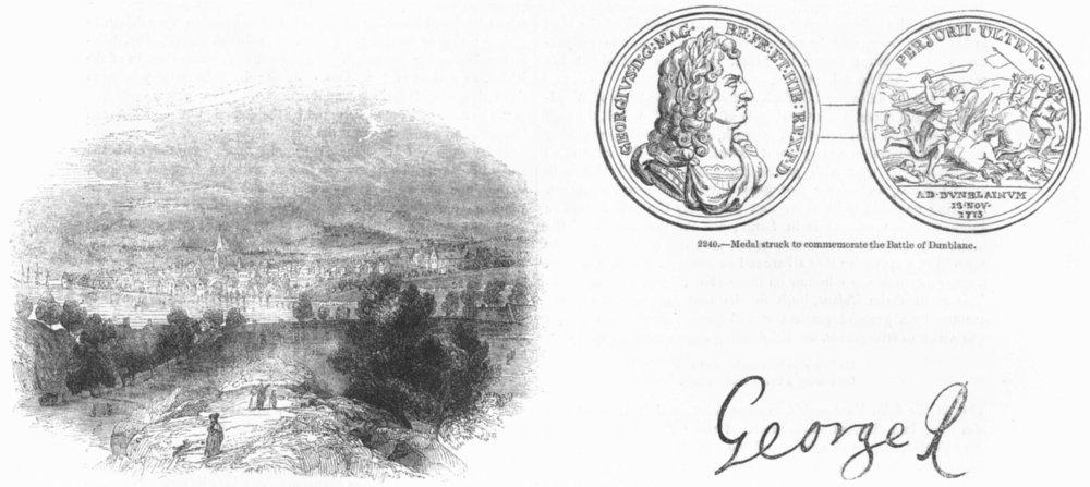 Associate Product SCOTLAND. Perth; Dunblane medal; George I Autograph 1845 old antique print
