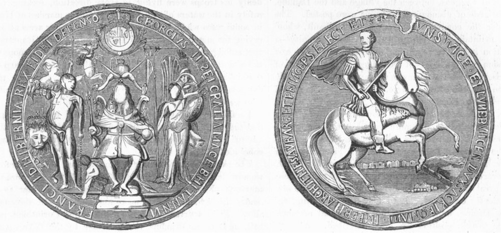 Associate Product DECORATIVE. Great seal of George II 1845 old antique vintage print picture