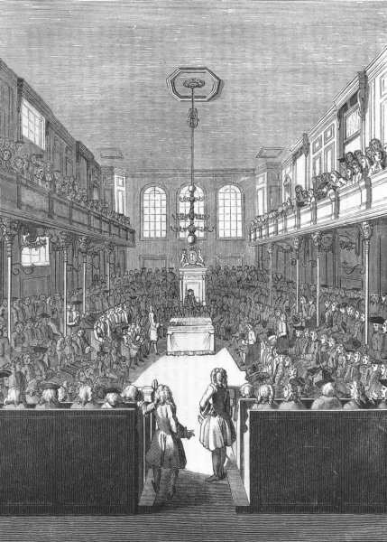 LONDON. House of Commons, George II 1845 old antique vintage print picture