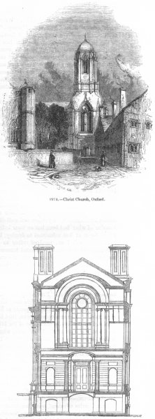 Associate Product CHRIST CHURCH OXFORD. & King's College, Cambridge 1845 old antique print
