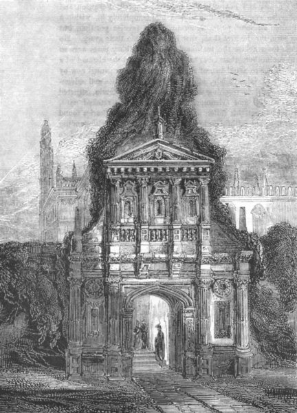 Associate Product CAMBS. Caius Gate of honour, Cambridge 1845 old antique vintage print picture