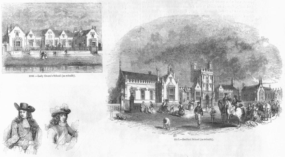 BEDFORD. & Lady Owen's School; William III costume 1845 old antique print