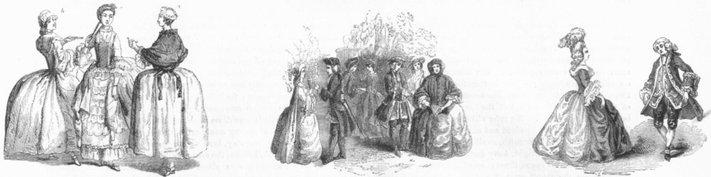 Associate Product PRETTY LADIES. Of reign George II; Fashion; Minuet 1845 old antique print