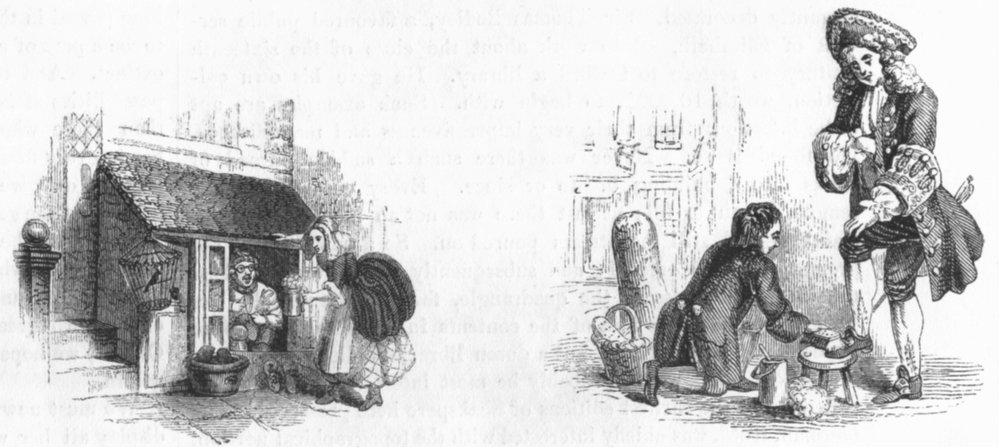 Associate Product LONDON. Cobbler's Stall, 1760; Shoeblack, 1750 1845 old antique print picture