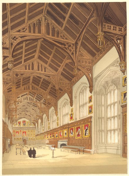 Associate Product OXON. Christ Church Hall Oxford 1845 old antique vintage print picture