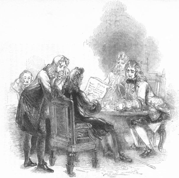Associate Product SOCIETY. Roger de Coverley's death announced 1845 old antique print picture