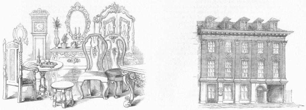 Associate Product GEORGIAN FURNITURE. & Inigo Jones house, Gt Queen St 1845 old antique print