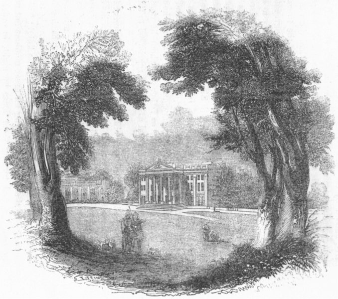 Associate Product HERTS. Mansion at Moor Park 1845 old antique vintage print picture