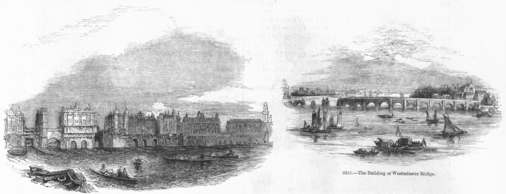 Associate Product LONDON BRIDGE. In 1760; Building Westminster Bridge 1845 old antique print
