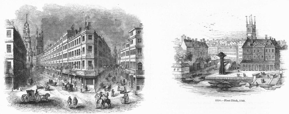Associate Product CORNHILL. exchange & Lombard St ; Fleet Ditch, 1749 1845 old antique print