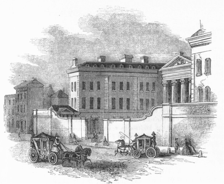 Associate Product BUILDINGS. Admiralty before Adam's Screen was built 1845 old antique print