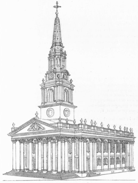 Associate Product CHURCHES. St Martin's Church 1845 old antique vintage print picture