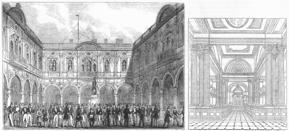 Associate Product ROYAL EXCHANGE. 2nd ; St Mary Woolnoth, Lombard 1845 old antique print picture