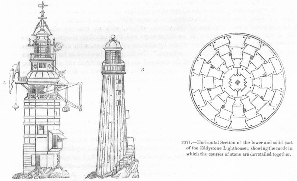 Associate Product LIGHTHOUSES. Winstanley, Rudyerd; Eddystone section 1845 old antique print