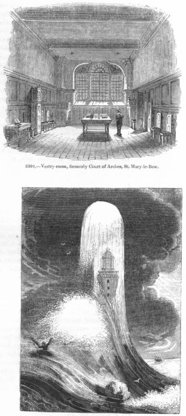 Associate Product DEVON. Eddystone lighthouse; Vestry, St Mary-le-Bow 1845 old antique print