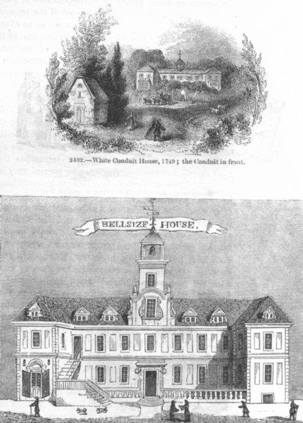 Associate Product LONDON. White Conduit House 1749; Belsize 1845 old antique print picture