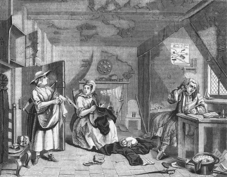 POETS. The distressed Poet 1845 old antique vintage print picture