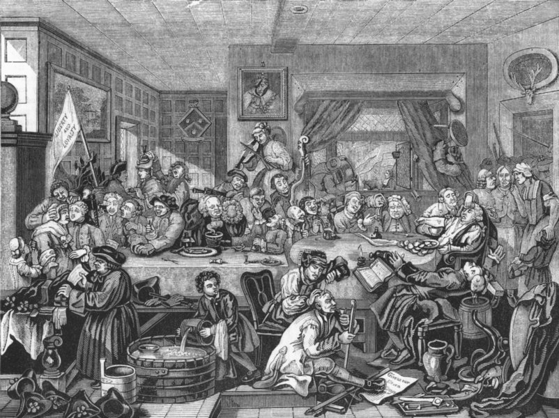 Associate Product SOCIETY. The feast 1845 old antique vintage print picture