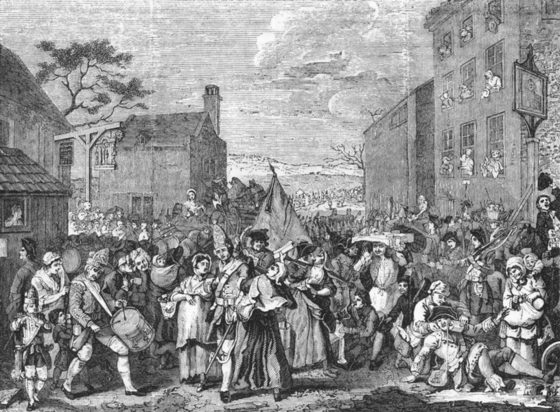 Associate Product LONDON. March to Finchley 1845 old antique vintage print picture