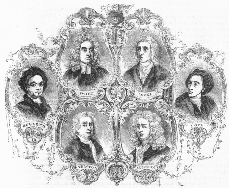Associate Product PORTRAITS. Swift, Locke, Hogarth, Newton, Addison, Pope 1845 old antique print