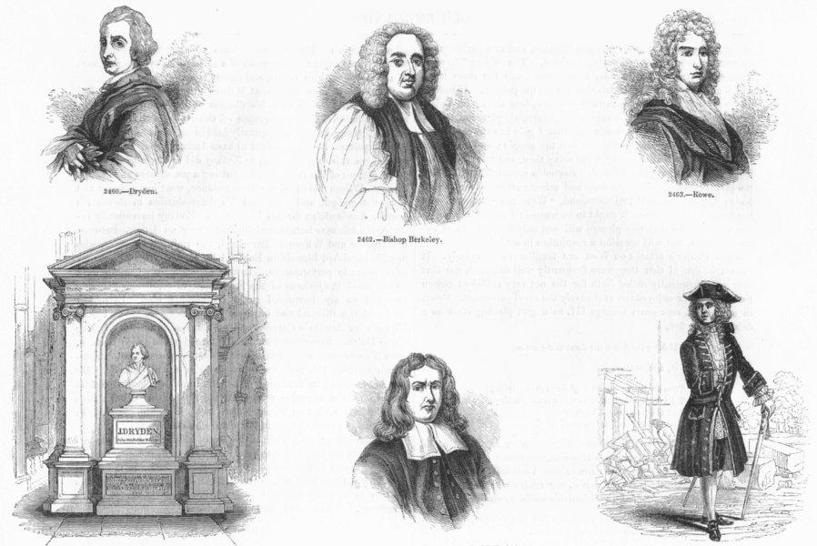 Associate Product PORTRAITS. Dryden; Berkeley; Rowe; Sydenham; Vanburgh 1845 old antique print