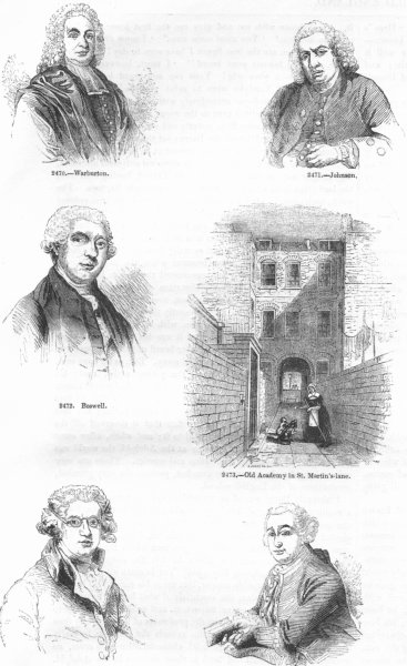 PEOPLE. Warburton; Johnson; Boswell; Reynolds; Garrick 1845 antique print