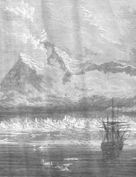 Associate Product NORWAY. Mountains in Spitzbergen, with Coast glacier and Ice peaks 1893 print