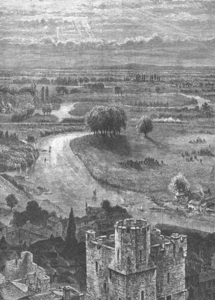 Associate Product THAMES VALLEY. View from the Round Tower, Windsor Castle 1893 old print
