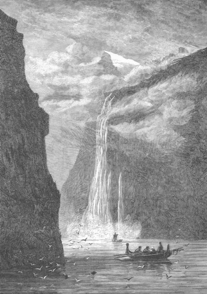 Associate Product NORWAY. Geiranger Fjord, with the Seven Sisters fall 1893 old antique print