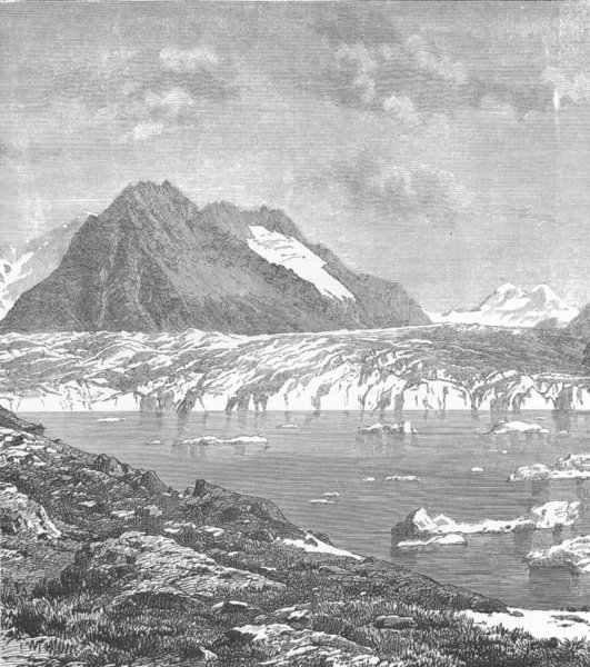 Associate Product SWITZERLAND. Aletsch Glacier and Marjelen Lake, canton Valais 1893 old print