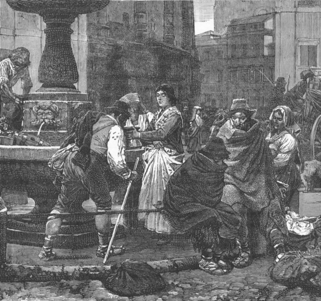 Associate Product ROME. Peasantry in the Piazza Montanara. Italy 1893 old antique print picture