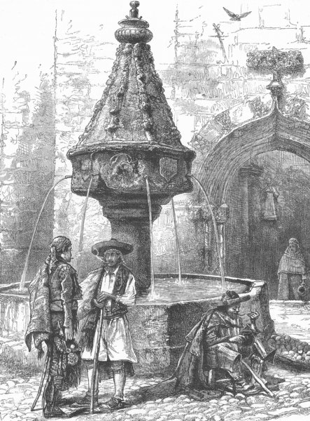 Associate Product SPAIN. Fountain in Jativa, Province of Valencia. Játiva Xàtiva 1893 old print