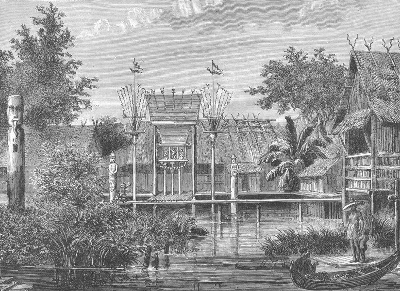 Associate Product BORNEO. A Village Scene in Borneo. East Indies 1893 old antique print picture