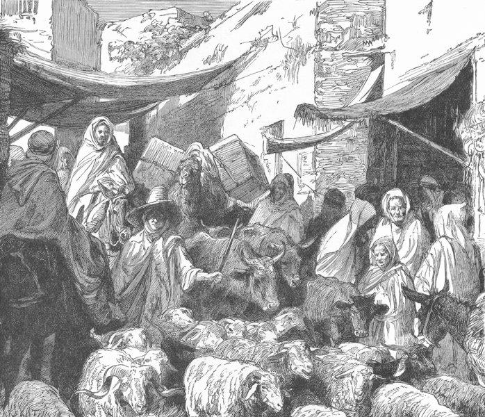 Associate Product TUNISIA. Street Scene in Suik, Tunis 1893 old antique vintage print picture