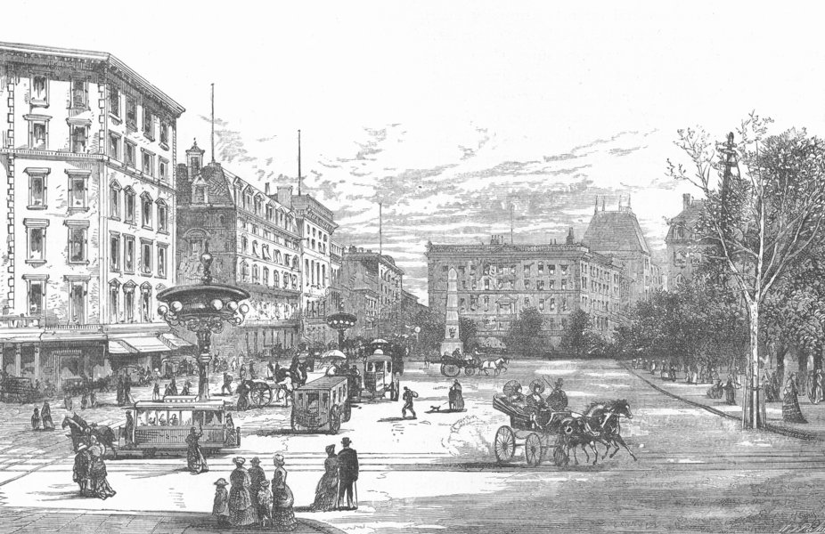 Associate Product NEW YORK CITY. Madison Square 1893 old antique vintage print picture