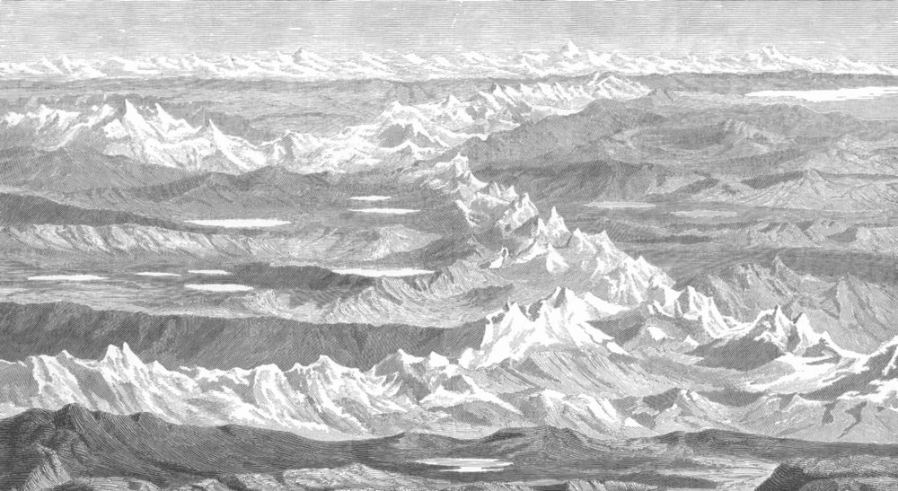 Associate Product PERU. The Andes between Lakes Titicaca and Parihuanacocha 1893 old print
