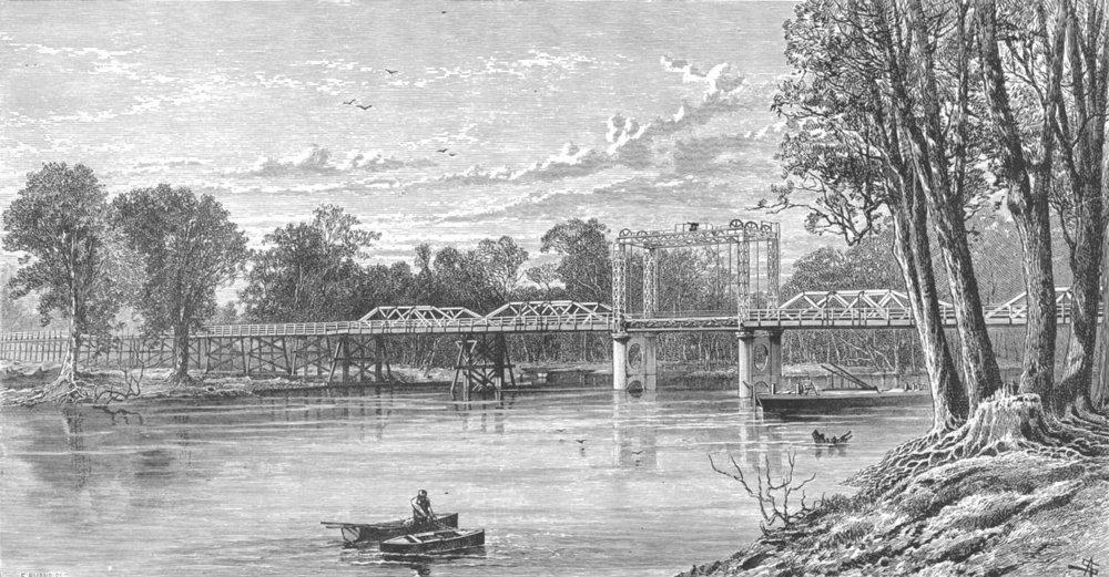 AUSTRALIA. Murray River bridge at Yarrawanga, connecting Victoria & NSW 1893