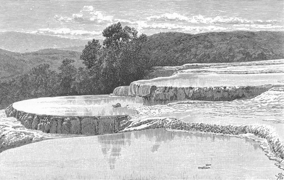 Associate Product NEW ZEALAND. White Terraces at Lake Rotomahana destroyed by Eruption 1886 1893