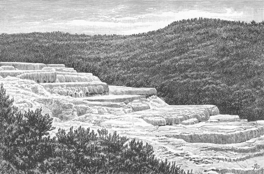 Associate Product NEW ZEALAND. Pink Terraces at Lake Rotomahana destroyed by Eruption 1886 1893
